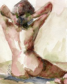 Nude Female Figure Watercolor Painting Giclee by CGallaFineArt
