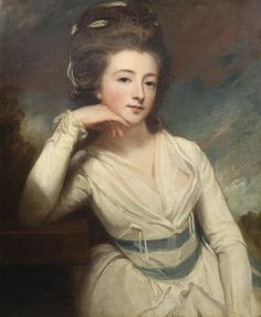 George Romney (Beckside 1734-1802 Kendal) Portrait of Elizabeth Burgoyne, half-length, in a white dress