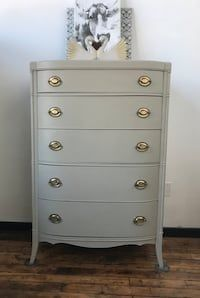 """This beautiful dresser was painted in Fusion Mineral Paint """"Bedford""""   Dimensions: 34 wide x 21 deep x 52 tall"""