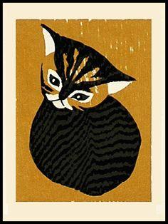 Art, Animal, Cat. Kawano Kaoru (Japan, 1916-1965)