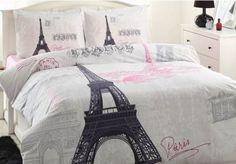 100% Cotton Paris Bedding Full Queen Duvet Cover Set Paris Bedding Set 4 pcs