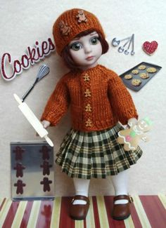 """~GiNGeRBReaD SPiCe~...a special HandKnit Sweater, Pleated Plaid Skirt & Hand knit Hat with Gingerbread buttons for Tonner Patsy or Ann Estelle 10"""" Dolls. May fit Kish Bitty Bethany 11"""" and Sophie or Georgia 10"""" dolls by Tonner also. New and gorgeous, and your dolly will love the Gingerbread buttons! Buy it now on my ebay karmel*apples. Please like my facebook also- Karmel Apples Doll Clothes. SOLD, SORRY!"""