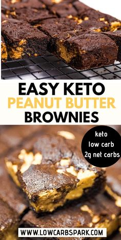 These are the best Keto Peanut Butter Brownies! Fudgy keto brownies made with almond flour and topped with a peanut butter layer. Enjoy the most decadent, rich, and gooey dessert. Naturally, gluten-free brownies that are ready in under 30 minutes and only Paleo Brownies, Brownies Cétoniques, Brownie Sans Gluten, Peanut Butter Brownies, Desserts Keto, Keto Friendly Desserts, Dessert Recipes, Bar Recipes, Cream Recipes
