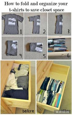 How to fold and organize your t-shirts to save closed space