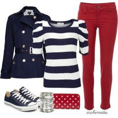 Navy and White Shirt + Red Jeans + Navy Converse + Red Purse = Nice and Comfy Casual Outfit Mode Outfits, Fall Outfits, Summer Outfits, Casual Outfits, Fashion Outfits, Fashion Scarves, Fashion Mode, Look Fashion, Winter Fashion