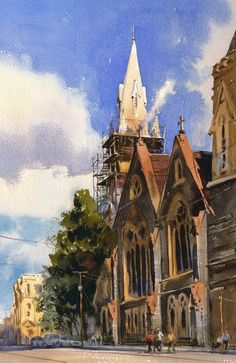 Scaffolding at Glenferrie copy by Mike Kowalski Watercolor ~ 14 x 11