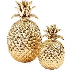 Two's Company Golden Hospitality Pineapple Jars- Set of 2 ($108) ❤ liked on Polyvore featuring home, home decor, gold, pineapple home decor, two's company and pineapple home accessories
