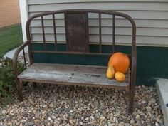 Metal Bed In The Top Of My Garage - and my husband keeps telling me to get rid of it....hmmmm, guess I will need his help :)  A bench like this would be sweet in my garden. Check out this website - lots of benches made from old beds....