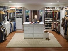 Tips in Creating Master Bedroom Closet with Multi-Function Design : Large Walking Closet Closet Design Ideas Furniture Glamorous Brown Walk In Closet Design Idea With Gray White Clothes White Boxes And Open Shelves With Shoes Awesome Walk In Home, Closet Organizers, Bedroom Closet Design, Home Remodeling, Closet Designs, Remodel Bedroom, Closet Space, Closet Layout, Closetmaid