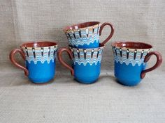 Bulgarian Clay Mugs  Set of four Ceramic Mugs  by GuestFromThePast