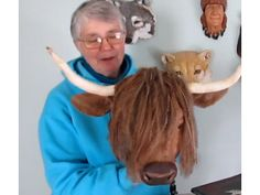 highland cow faux taxidermy mount - video tutorials and lots of varied patterns for sculpture with papier mache http://www.ultimatepapermache.com/highland-cow-faux-taxidermy-mount  Love this Curly Coo - would be such a laugh to have one in our hall