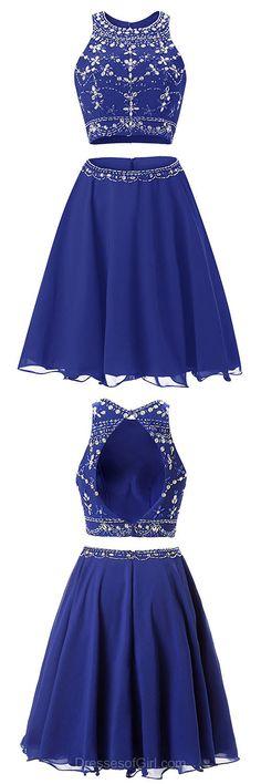 Blue Homecoming Dress, Short Homecoming Dress,Cute Homecoming Dress,Mini Homecoming Dress,Homecoming Dress 2017, Two Piece Prom Dresses