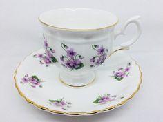 Crown Staffordshire Purple Violets Tea Cup and Saucer, Vintage Fine Bone China