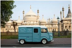 Meet Lui a classic blue 1976 Citroen H-van, devoted to providing nutritious, tasty made-to-order galettes and crepes for your wedding day!