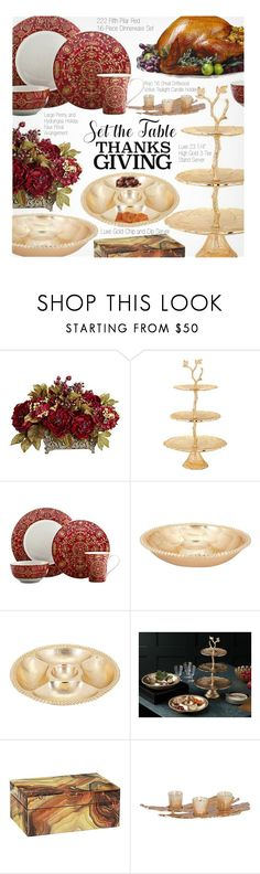 """""""Set the Table: Thanksgiving Dinner"""" by beebeely-look ❤ liked on Polyvore featuring interior, interiors, interior design, home, home decor, interior decorating, 222 Fifth, Rojo16, homedecor and thanksgiving"""