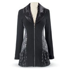 """Satin Collar Jacket; Exclusive! Fanfare. Embroidered satin and ruffled, layered lapels announce your entrance! Paisley-patterned side insets draw additional attention to this knit jacket, with its silvery front zipper, long sleeves, and slash pockets. Acrylic/rayon/ poly/spandex. Hand washable. Imported. S (6-8), M (10-12), L (14-16), XL (18), 1X (18W-20W), 2X (22W-24W), 3X (26W-28W); 31""""-34"""" long. $90"""