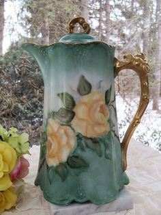 Vintage Aqua with Yellow Roses Porcelain by sheriscrystals on Etsy,