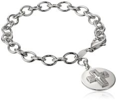 Sterling Silver Cubic Zirconia Cross Cutout Link Bracelet 75 -- Read more reviews of the product by visiting the link on the image.