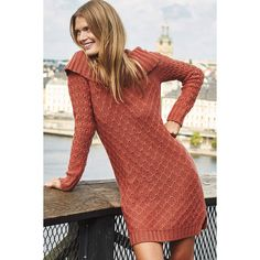 Sparrow Cowled Sweater Dress featuring polyvore, fashion, clothing, dresses, rose, red dress, rosette dress, red rose dress, sweater dress and rose dress