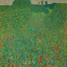 """In Gustav Klimt's painting """"A Field of Poppies"""" (1907), the fruiting trees and the meadow of wildflowers are a metaphor for rebirth and regeneration. After World War I, poppy fields came to symbolize the loss of life."""