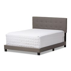 Baxton Studio Brookfield Modern and Contemporary Grey Fabric Upholstered Grid-tufting Full Size Bed