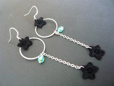 Lily Ohrringe : schwarze Spitze/Silber von virginie etc... auf DaWanda.com