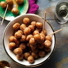 Ham Balls with Brown Sugar Glaze Recipe -These smoky-sweet meatballs are a Pennsylvania Dutch specialty. I like setting them out when folks come to visit. One Bite Appetizers, Finger Food Appetizers, Holiday Appetizers, Appetizers For Party, Finger Foods, Appetizer Recipes, Party Snacks, Party Dips, Gourmet