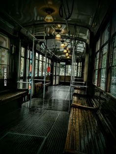 Alone in a tram, while outside is raining