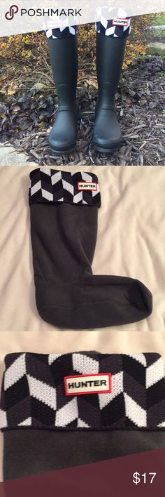Hunter Black/Grey/White Welly Socks Size M NWT Never been worn Hunter boot socks, still in original box. Versatile color/pattern to keep you dry and warm! Hunter Boots Other