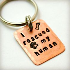 I RESCUED My HUMAN - Hand Stamped Copper Dog Tag - with Dogbone and Paw Stamp Design - Ready to Ship