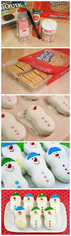 Snowmen cookies: Nutter Butter dipped in melted white chocolate, orange-chocolate covered sunflower seed for nose, fruit roll ups for hat, colored icing for eyes and mouth.