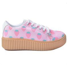 Kawaii Strawberry Platform Creeper Sneakers (195 RON) ❤ liked on Polyvore featuring shoes, sneakers, platform trainers, creeper platform shoes, platform sneakers, canvas sneakers and platform shoes