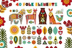 Nordic Animals - folk kit - Illustrations