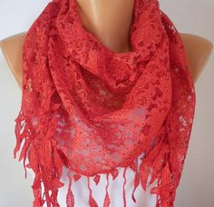 Red Lace  Scarf    Headband Necklace Cowl with Lace by fatwoman, $19.00