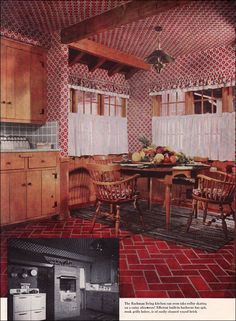 1951 Early American Kitchen - Wallpaper on the ceiling? 1950s Interior, Mid-century Interior, Vintage Interior Design, Vintage Interiors, Interior Decorating, Decorating Blogs, American Home Design, American Interior, Kitchen Wallpaper