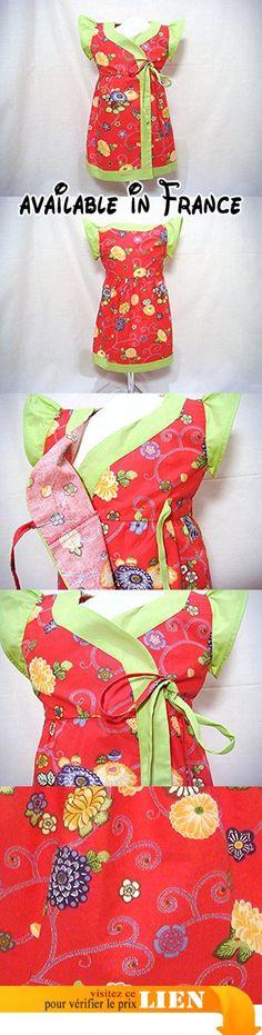 """Robe Cache-Coeur Bébé Fille 24 mois 2 ans 86 cm """"Fleurs Corail et Vert"""" en coton.  #Guild Product #GUILD_BABY"""