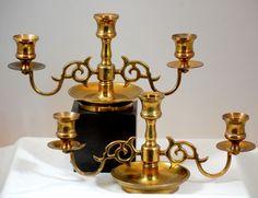 Pair Of Antique Vintage Ornate Brass 3 Candle Holder Candelabras #Baroque