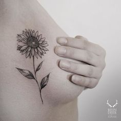 Fancy Sunflower Side Boob Tattoo