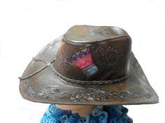 Rindsleder #Hut, #Stetson aus #Peru Unisex #Cowboyhut mit Mantastoff Designs