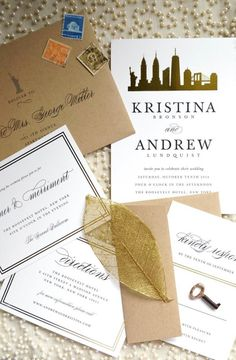 Highlight your big city love with a unique wedding invitation suite from Minted.