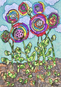 Patchwork Flowers. Mixed media on paper by Caroline Street. #patchwork #flowerart #drawing flowers #unique flower art #folkart flower #gardens #flowerbeds