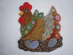 GALLINA PUNTILLISMO Dot Art Painting, Mandala Painting, Painting Patterns, Stone Painting, Chicken Crafts, Chicken Art, Aboriginal Dot Art, Painted Rocks, Hand Painted
