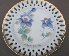 Vintage Colorado Columbine decorative plate marked S-565