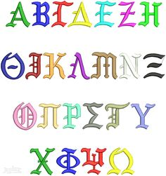 """Greek Old English Embroidery Font. 3 Different Size Letter Sets. 2"""" , 2.5"""" ,3 """" all satin stitch."""