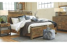 Sommerford Queen Panel Bed Made with Reclaimed Pine Solid Wood by Signature Design by Ashley at Lindy's Furniture Company Dreams Bed Frames, Dreams Beds, Queen Headboard, Headboard And Footboard, King Duvet Cover Sets, Dining Room Bench, Loft Interiors, Bedroom Sets, Master Bedroom