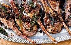 Seared lamb chops with anchovies, capers and sage. Photo: Andrew ...