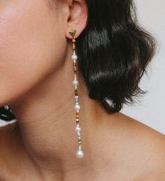 Luiny Heart Drop Earrings on Garmentory Beaded Earrings Patterns, Bead Earrings, Chandelier Earrings, Earrings Online, Beaded Chandelier, Pearl Drop Earrings, Clip On Earrings, Earring Tutorial, Bead Jewellery