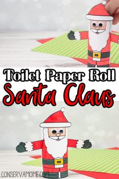 This Toilet Paper Roll Santa Claus is an easy kids Christmas Craft. All you have to do is print, color, cut and glue to a toilet paper roll! Easy peasy! So if you're ready to get the Creative fun going without too much stress then check out this fun Christmas Craft idea. #toiletpaperroll #Craftsforkids