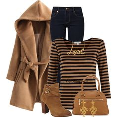 """Choies Brown Long Sleeve Hooded Coat With Belt"" by arjanadesign on Polyvore"