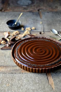 No-bake caramel walnut chocolate tart                              …